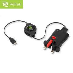 ReTrak 2A Wall Charger and Retractable Micro USB Charge & Sync Cable