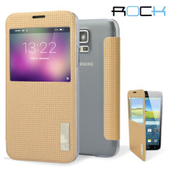 ROCK Elegant Samsung Galaxy S5 Smart View Flip Case - Gold