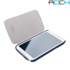 Rock Ultra Thin Leather Flip Case - Samsung Galaxy Note 2 - Dark Blue