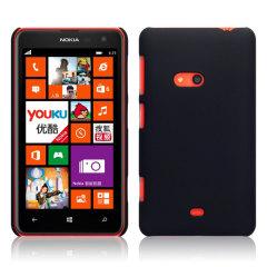 Rubberised Nokia Lumia 625 Hard Shell Case - Black