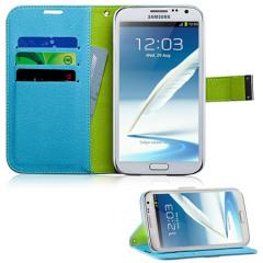 Samsung Galaxy Note 2 Wallet Stand Case - Blue / Green