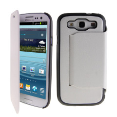 Samsung Galaxy S3 Ultra-thin Leather Case with Stand - White