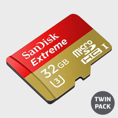 SanDisk Extreme Micro SDHC Card with SD Adapter - 32GB - Twin Pack