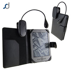 SD Leather Style Case with Light for Amazon Kindle - Black