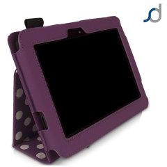 SD Stand and Type Case for Kindle Fire HD - Purple Polka