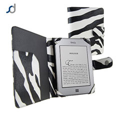 SD TabletWear Leather Style Book Case for Amazon Kindle Touch - Zebra