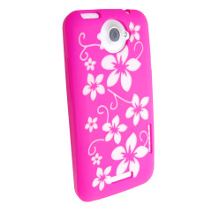 Silicone Case For HTC One X - Pink Flowers