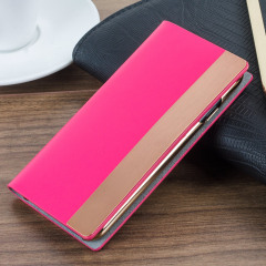 SLG D5 iPhone 7 Calfskin Leather Wallet Case - Rose