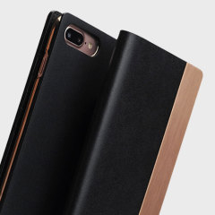 SLG D5 iPhone 7 Plus Calfskin Leather Wallet Case - Black