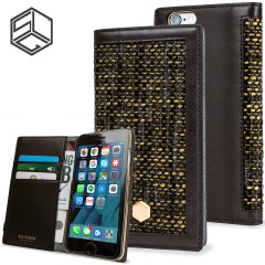 SLG Genuine Leather Fabric iPhone 6S / 6 Wallet Case - Brown