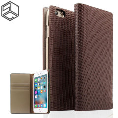 SLG iPhone 6S / 6 Premium Lizard Leather Wallet Case - Brown
