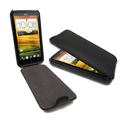 Slimline Carbon Fibre Style Flip Case for HTC One X / One X+