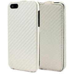 Slimline Carbon Fibre Style iPhone 5 Flip Case - White