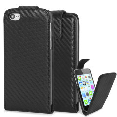 Slimline Carbon Fibre-Style iPhone 5C Vertical Flip Case - Black