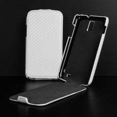 Slimline Carbon Fibre Style Samsung Galaxy S2 LTE Flip Case - White