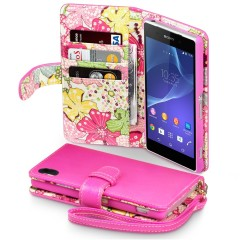 Sony Xperia Z2 Leather-Style Wallet Case - Hot Pink with Lily