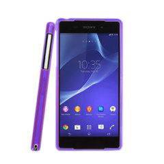 Sony Xperia Z2 Soft Case with Fluorescent Bumper - Purple