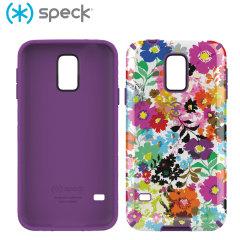 Speck CandyShell Inked Samsung Galaxy S5 - BoldBlossoms White / Purple