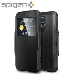 Spigen Samsung Galaxy S5 Slim Armor View Case - Smooth Black