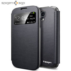 Spigen Ultra Flip View Cover for Samsung Galaxy S4 - Metallic Black