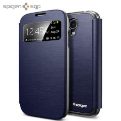 Spigen Ultra Flip View Cover for Samsung Galaxy S4 - Metallic Navy