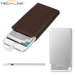 TECHLINK Recharge 3000mAh Power Bank & Genuine Leather Case - Silver