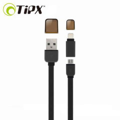 TipX Dual Lightning / Micro USB Sync & Charge Cable - Black