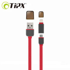 TipX Dual Lightning / Micro USB Sync & Charge Cable - Red