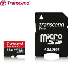 Transcend 64GB Class 10 Micro SDXC Card With SD Adapter