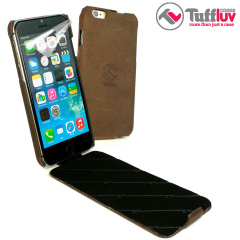 Tuff-Luv Tuff-Grip iPhone 6 Genuine Leather Flip Case - Brown