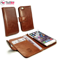 Tuff-Luv Vintage Leather iPhone 6S / 6 Wallet Case - Brown