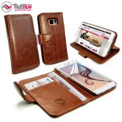 Tuff-Luv Vintage Leather Samsung Galaxy S6 Wallet Case - Brown