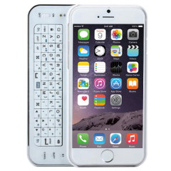 Ultra-Thin Bluetooth Wireless Sliding iPhone 6 Keyboard Case - White