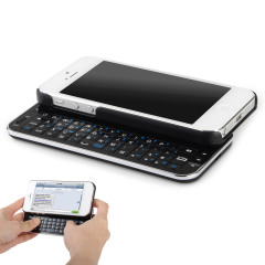 Ultra-Thin Wireless Sliding Keyboard Case for iPhone 5 - Black