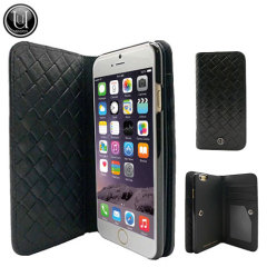 Uunique Luxe Exotic Leather iPhone 6 Wallet Case - Black Weave