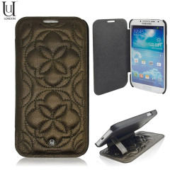 Uunique Quilted Leather Folio Case for Samsung Galaxy S4 - Bronze