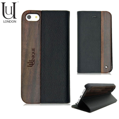 Uunique Textured Leather Case With Wooden Panel for Galaxy S4 - Black