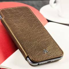 Vaja Slim Pelle iPhone 6S / 6 Premium Leather Book Flip Case - Gold