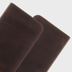 Valenta Universal 5 Inch Raw Genuine Leather Pouch - Vintage Brown