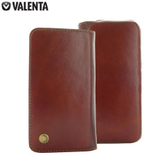 Valenta Universal 5 Inch Smartphone Genuine Leather Pouch - Brown