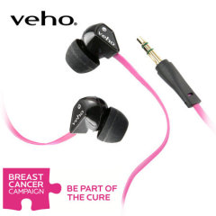 Veho 360 Noise Isolating Earphones with Flat Flex Cord - Pink