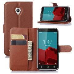 Vodafone Smart Prime 6 Wallet Case - Brown