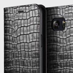 VRS Design Croco Samsung Galaxy S7 Diary Case - Silver / Grey