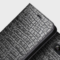 VRS Design Croco Samsung Galaxy S7 Edge Diary Case - Silver / Grey