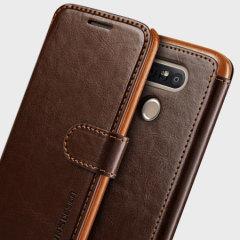 VRS Design Dandy Leather-Style LG G5 Wallet Case - Brown