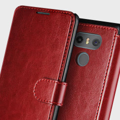 VRS Design Dandy Leather-Style LG G6 Wallet Case - Wine