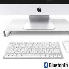 Wireless Bluetooth Keyboard - Silver & White