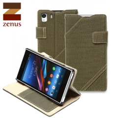 Zenus Cambridge Diary Stand Case for Sony Xperia Z1 - Khaki