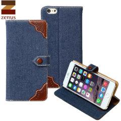 Zenus Demin Oxford Diary iPhone 6 Plus Case - Blue