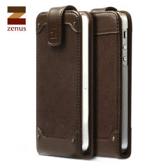 Zenus Fabric Rock Vintage Folder Case For Iphone 5S/5 - Dark Brown
